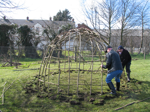 Building a Mesolithic hut. More hazel rods are woven in to strengthen the dome.